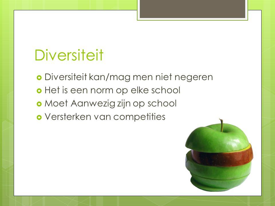 Diversiteit Diversiteit kan/mag men niet negeren