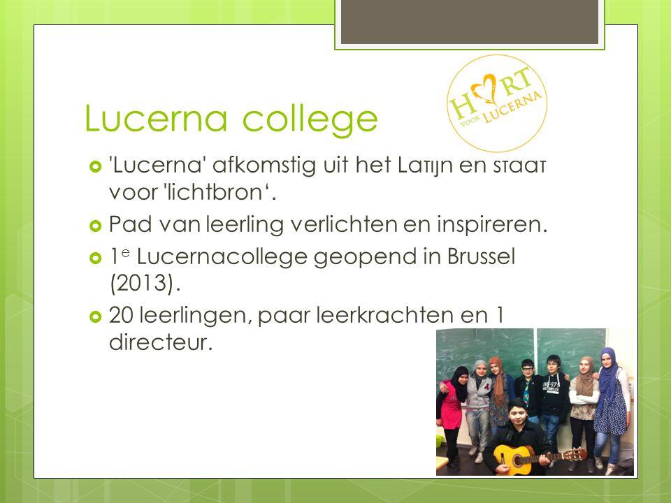Lucerna college Lucerna afkomstig uit het Latijn en staat voor lichtbron'. Pad van leerling verlichten en inspireren.