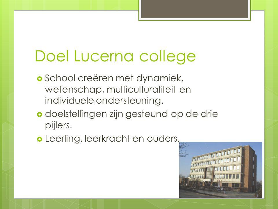 Doel Lucerna college School creëren met dynamiek, wetenschap, multiculturaliteit en individuele ondersteuning.