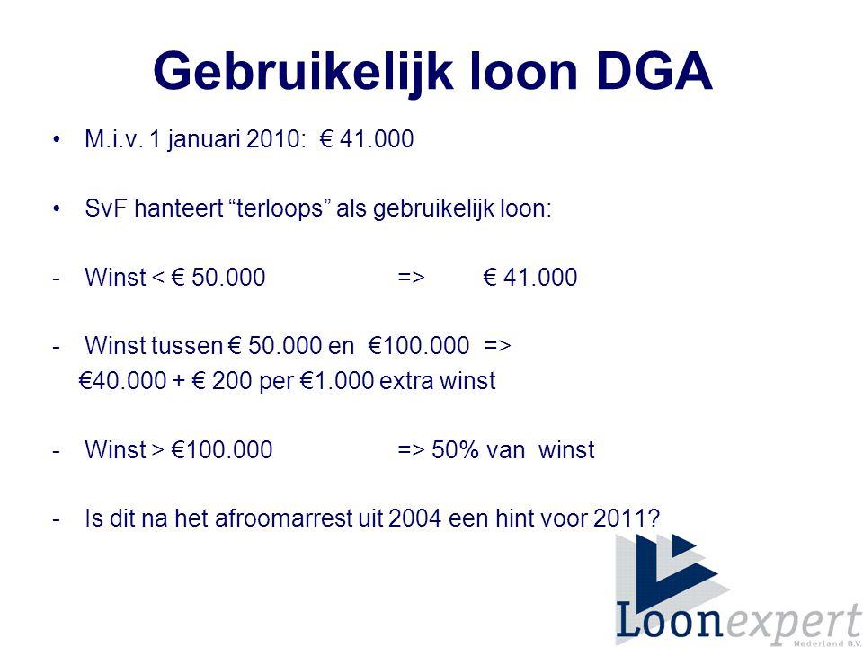 Gebruikelijk loon DGA M.i.v. 1 januari 2010: € 41.000
