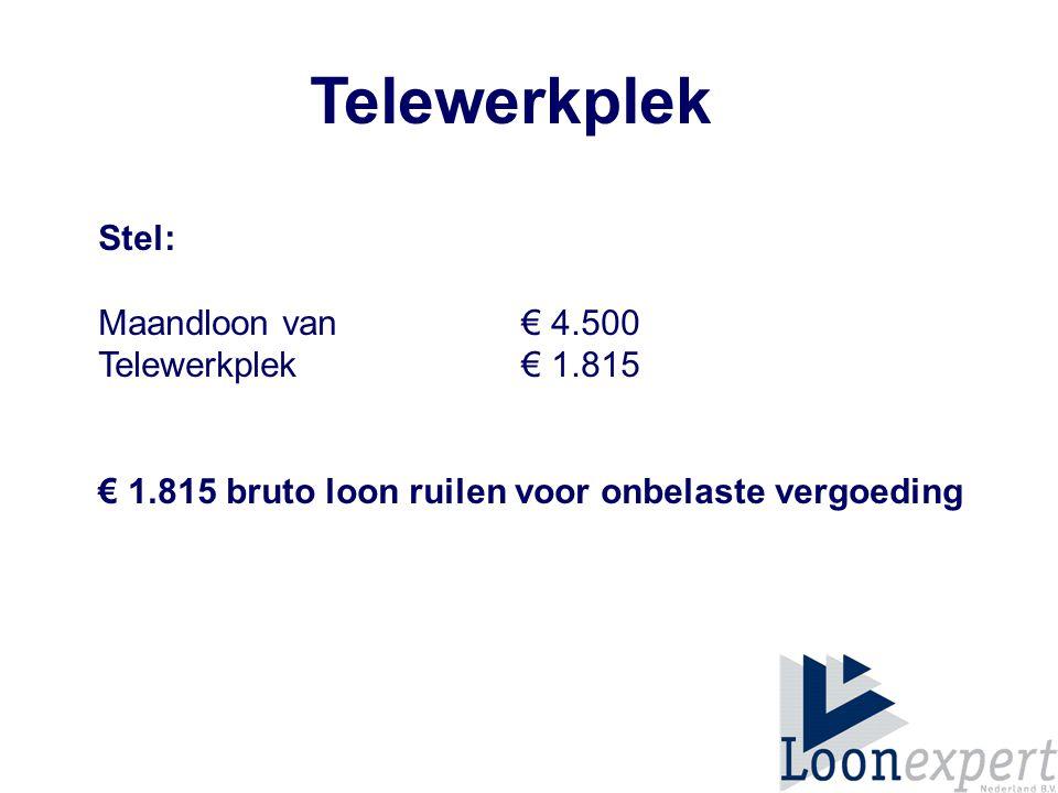 Telewerkplek Stel: Maandloon van € 4.500 Telewerkplek € 1.815