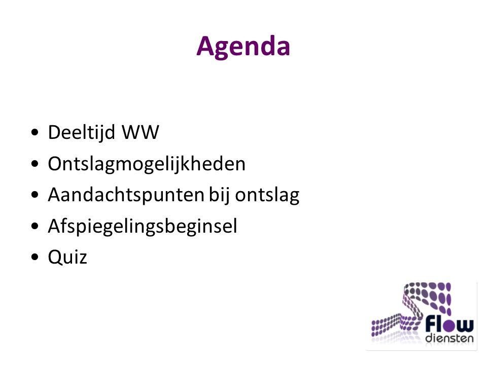 Agenda Deeltijd WW Ontslagmogelijkheden Aandachtspunten bij ontslag