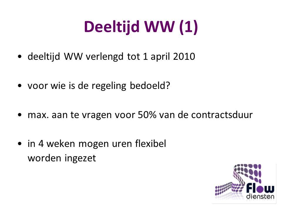 Deeltijd WW (1) deeltijd WW verlengd tot 1 april 2010