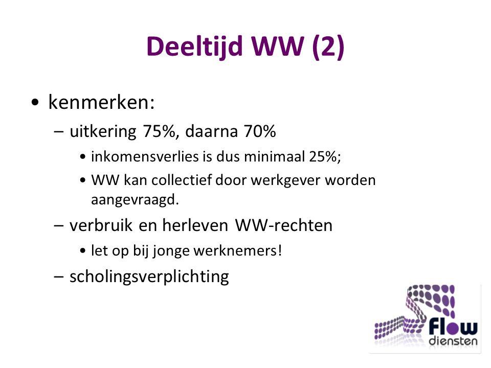 Deeltijd WW (2) kenmerken: uitkering 75%, daarna 70%