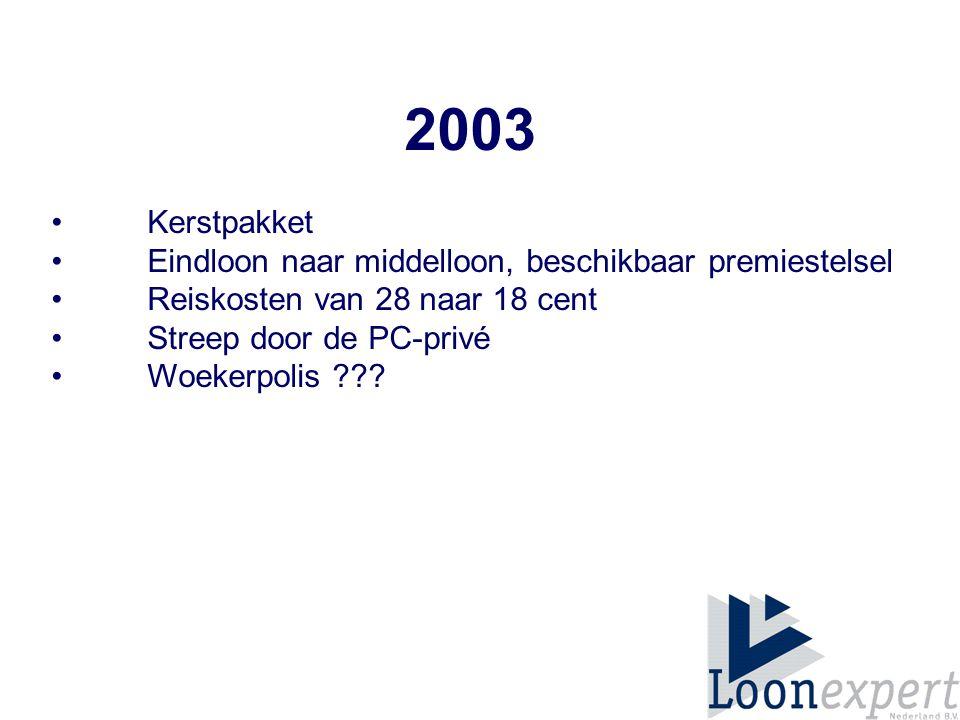 2003 Kerstpakket • Eindloon naar middelloon, beschikbaar premiestelsel