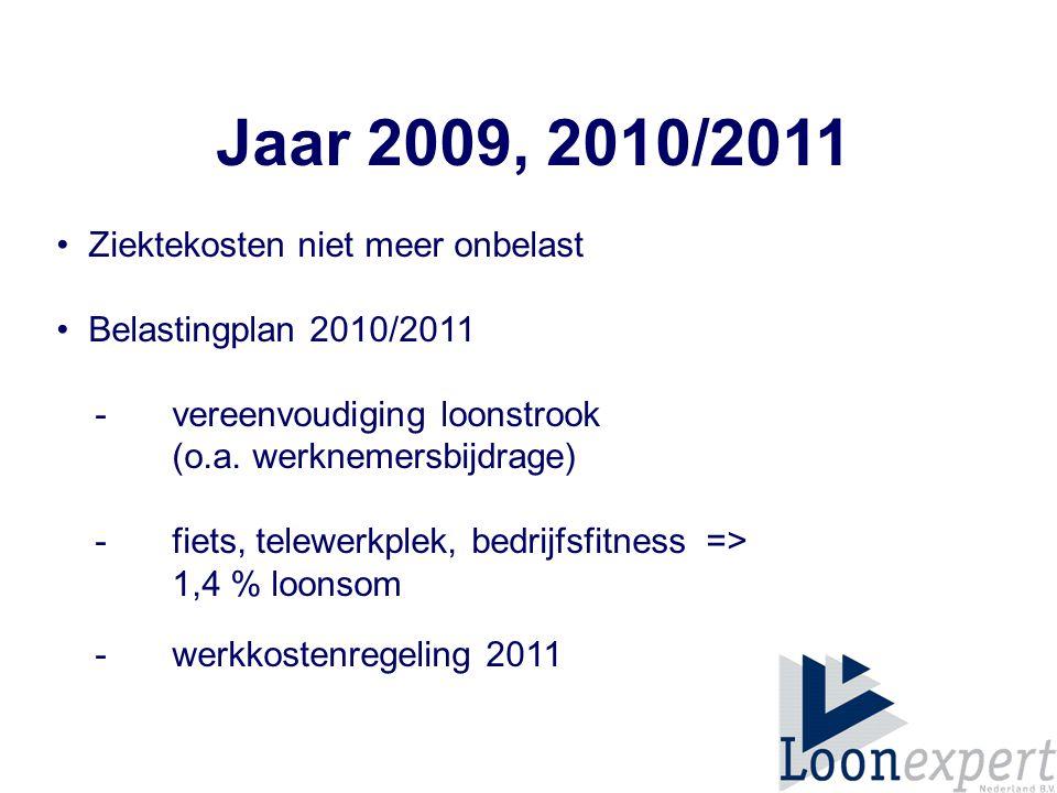 Jaar 2009, 2010/2011 • Ziektekosten niet meer onbelast