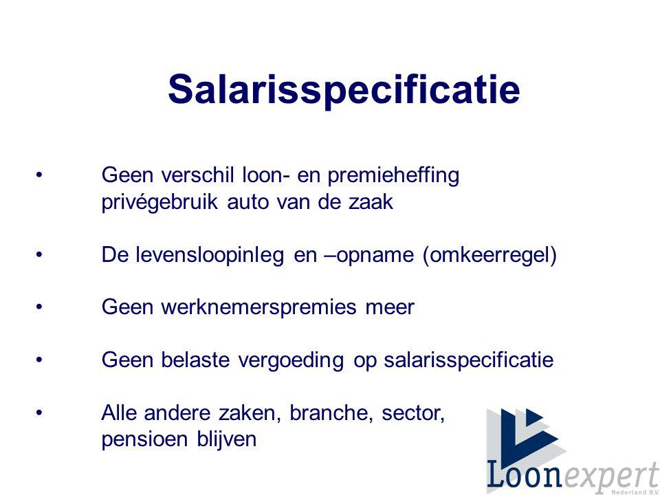 Salarisspecificatie Geen verschil loon- en premieheffing