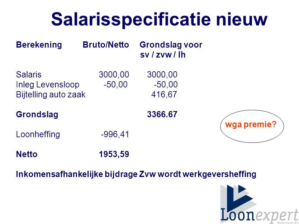 Berekening Bruto/Netto Grondslag voor sv / zvw / lh