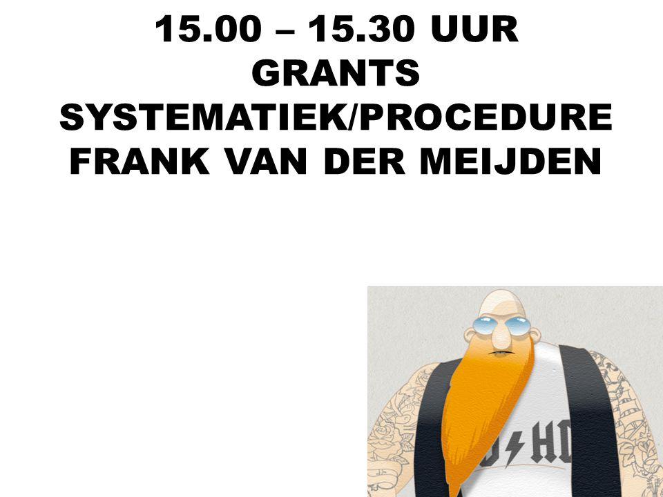 15.00 – 15.30 UUR GRANTS SYSTEMATIEK/PROCEDURE FRANK VAN DER MEIJDEN