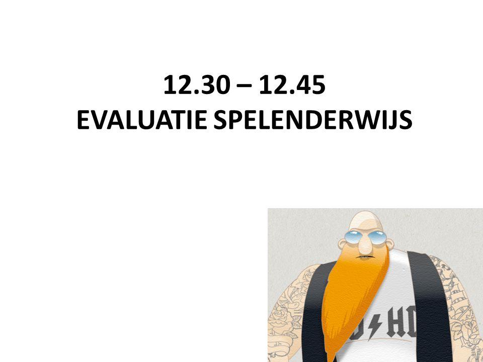 12.30 – 12.45 EVALUATIE SPELENDERWIJS