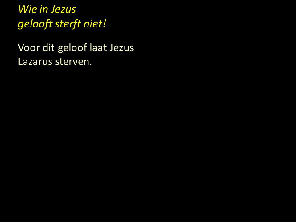 Wie in Jezus gelooft sterft niet!