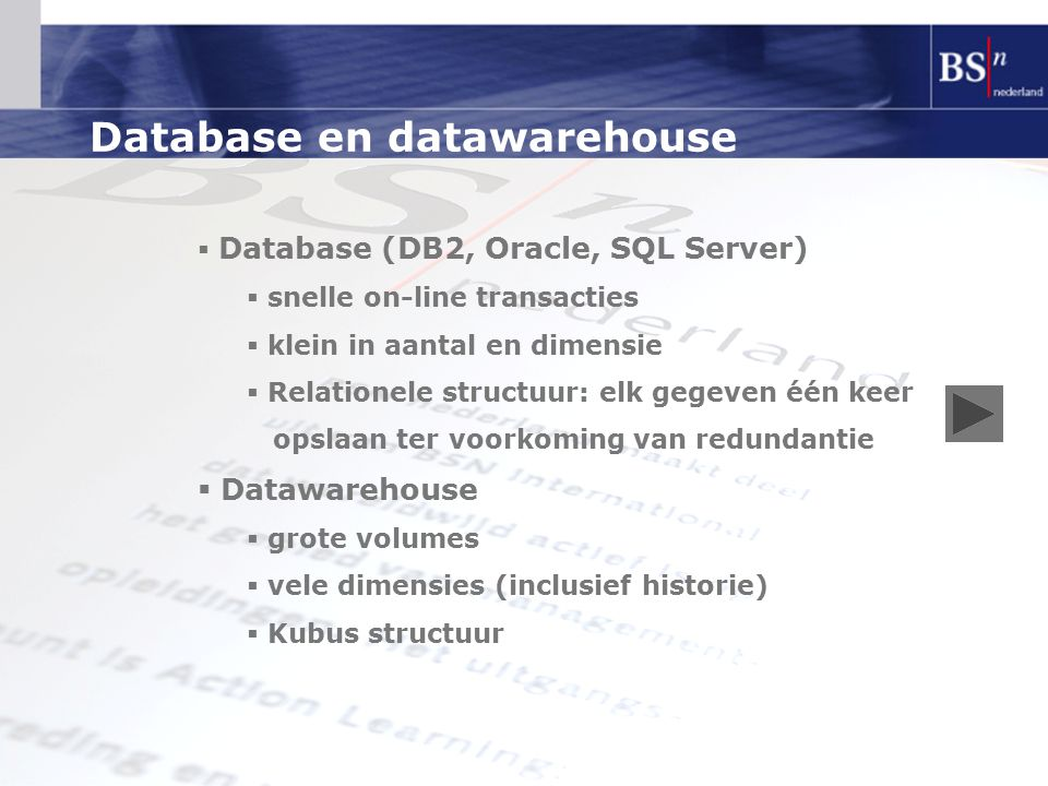 Database en datawarehouse
