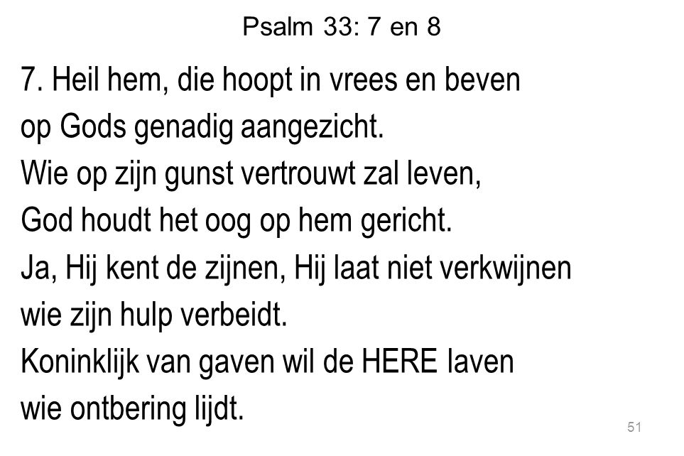 Psalm 33: 7 en 8