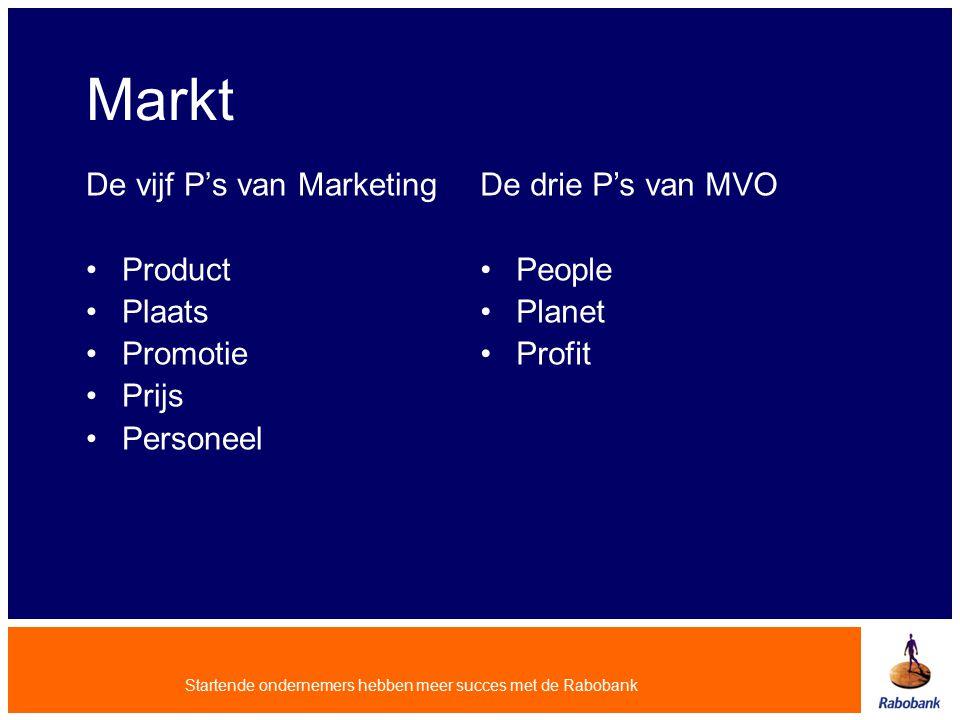Markt De vijf P's van Marketing Product Plaats Promotie Prijs