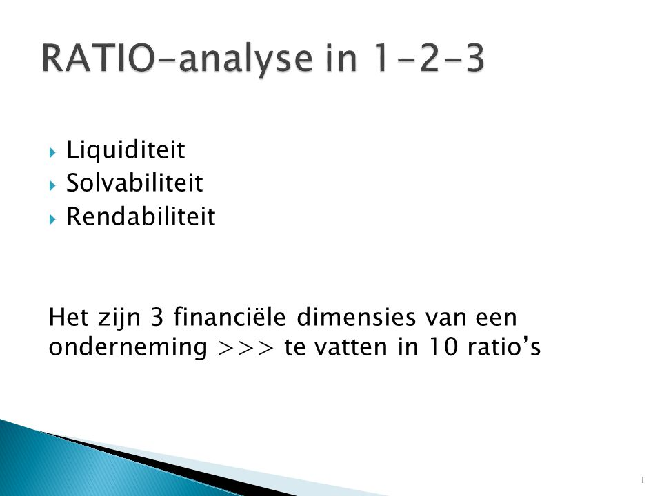 RATIO-analyse in 1-2-3 Liquiditeit Solvabiliteit Rendabiliteit