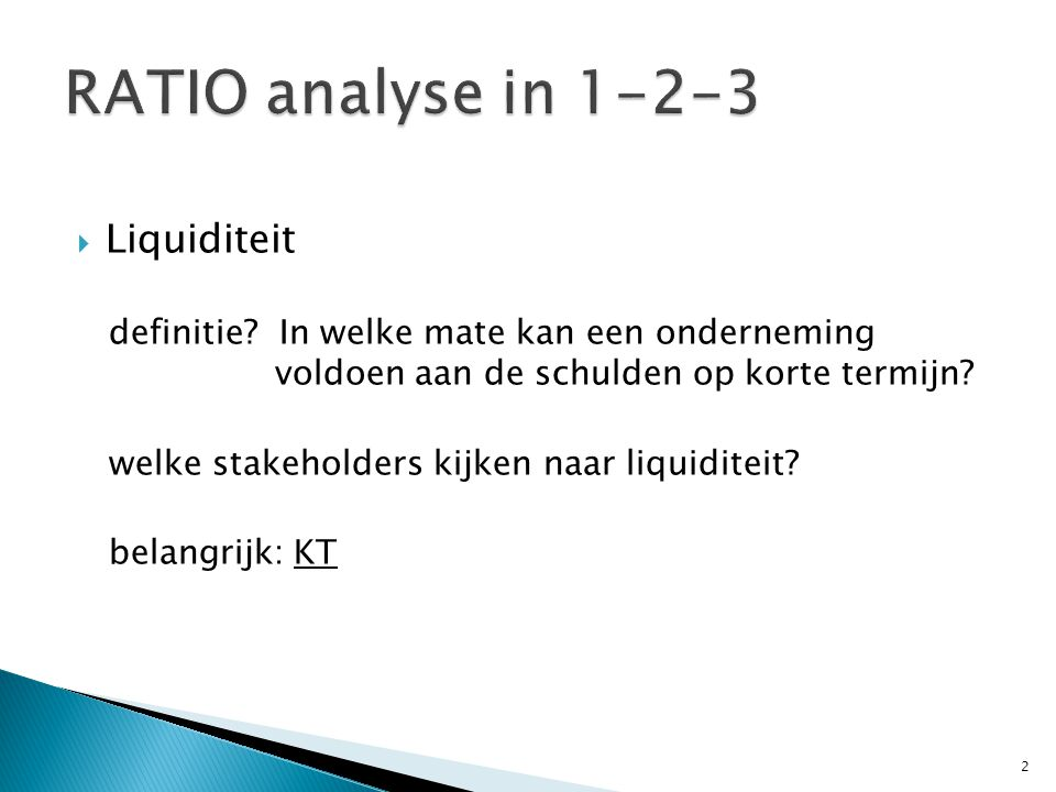 RATIO analyse in 1-2-3 Liquiditeit