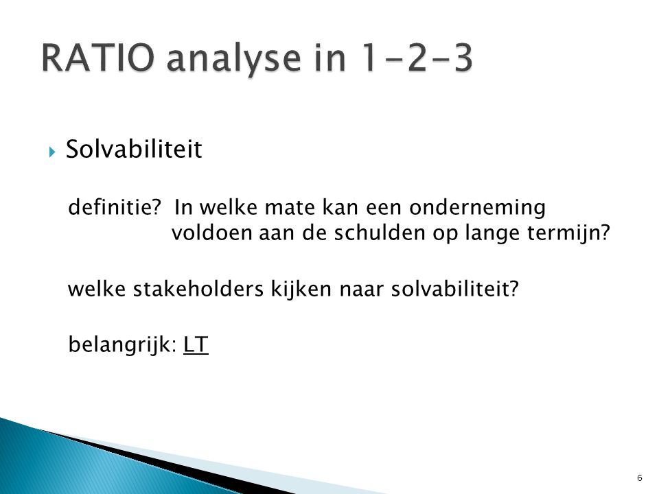 RATIO analyse in 1-2-3 Solvabiliteit