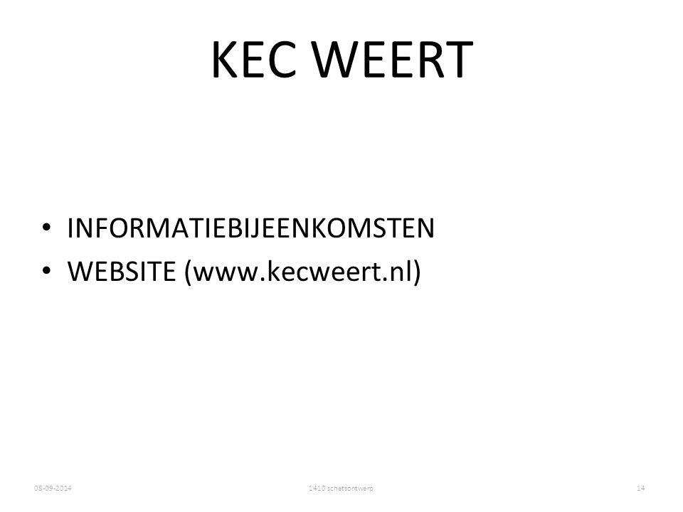 KEC WEERT INFORMATIEBIJEENKOMSTEN WEBSITE (www.kecweert.nl)