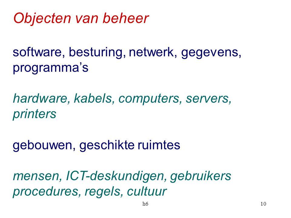 Objecten van beheer software, besturing, netwerk, gegevens, programma's. hardware, kabels, computers, servers, printers.