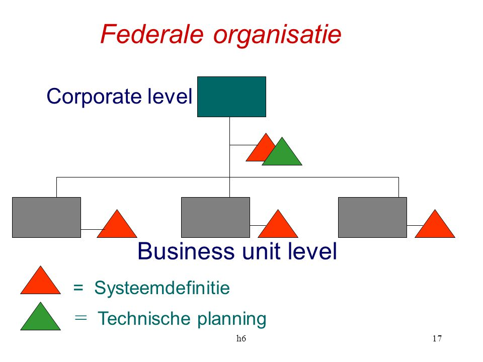 Federale organisatie Business unit level Corporate level