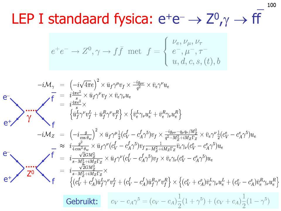 LEP I standaard fysica: e+e  Z0,  ff