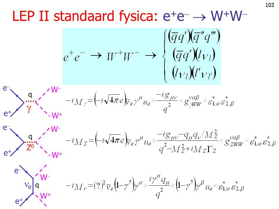 LEP II standaard fysica: e+e  W+W