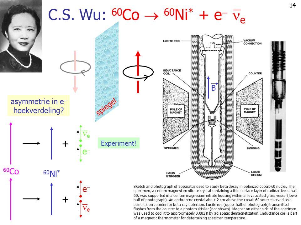 C.S. Wu: 60Co  60Ni* + e e + 60Co 60Ni* e e B asymmetrie in e