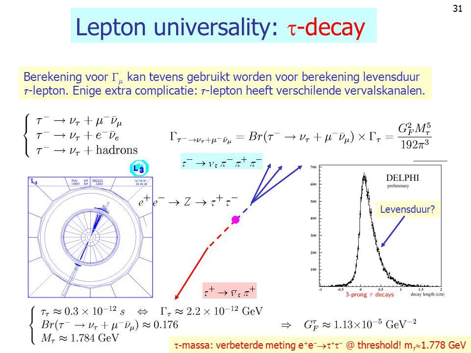 Lepton universality: -decay