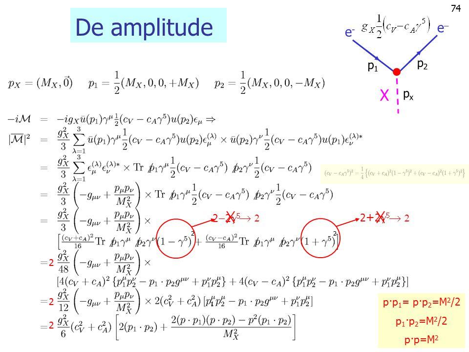De amplitude X e e- p2 p1 px   22 2+2 p·p1= p·p2=M2/2