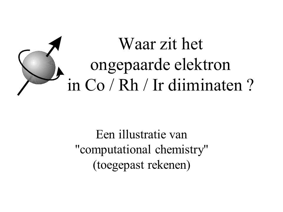 Waar zit het ongepaarde elektron in Co / Rh / Ir diiminaten