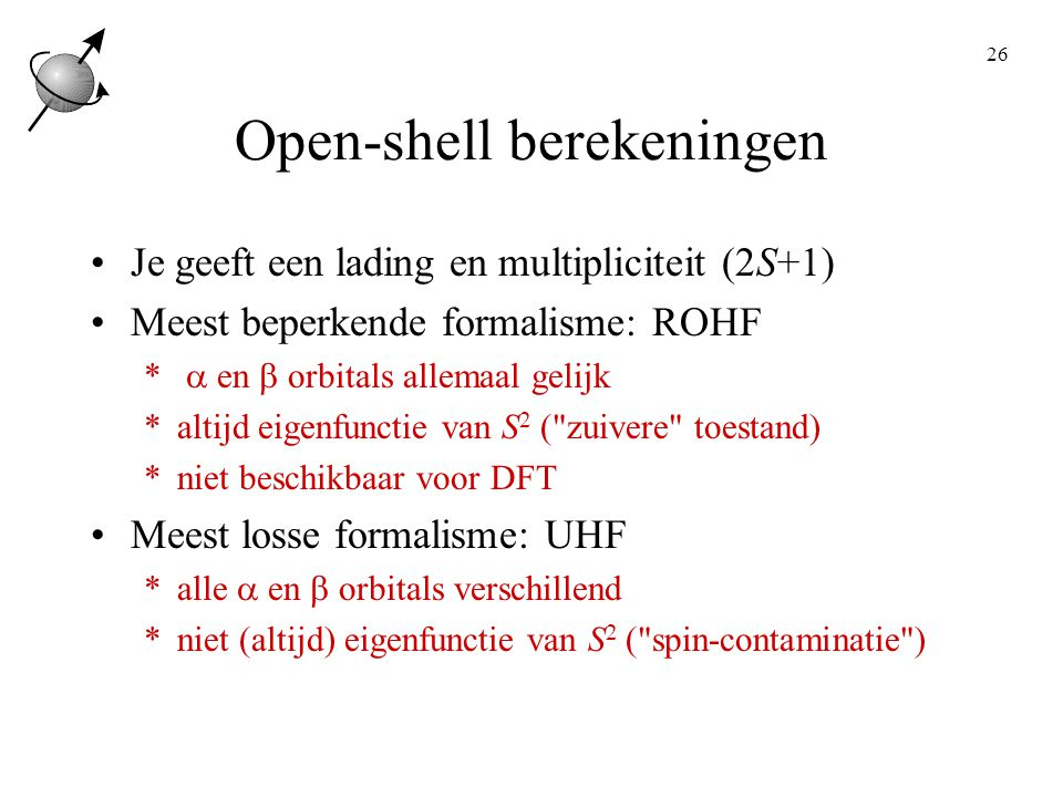 Open-shell berekeningen