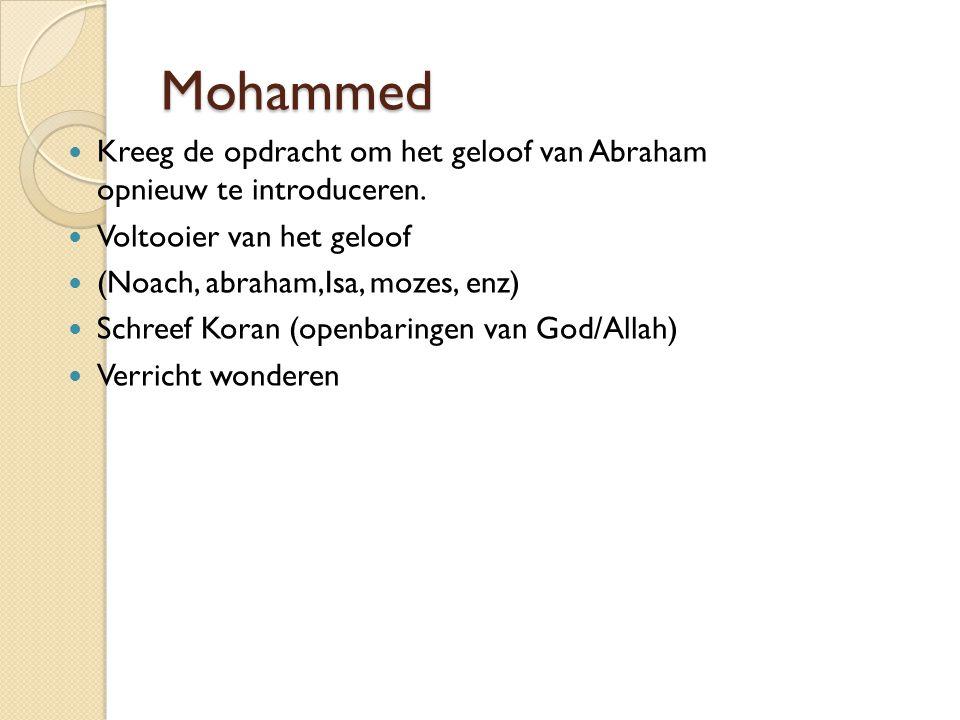 Mohammed Kreeg de opdracht om het geloof van Abraham opnieuw te introduceren. Voltooier van het geloof.