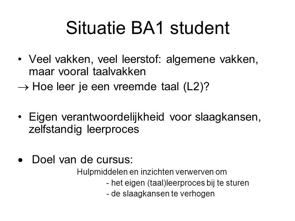 Situatie BA1 student Veel vakken, veel leerstof: algemene vakken, maar vooral taalvakken. Hoe leer je een vreemde taal (L2)