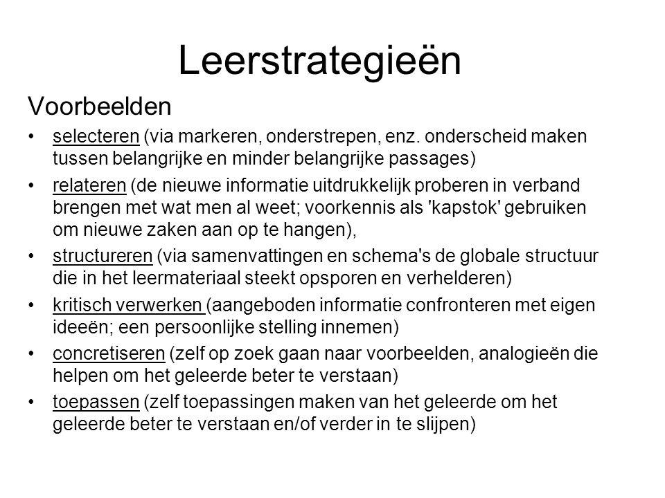 Leerstrategieën Voorbeelden