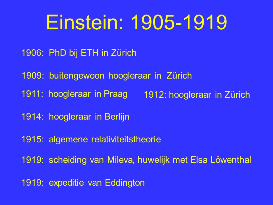 Einstein: 1905-1919 1906: PhD bij ETH in Zürich