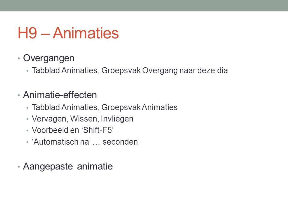 H9 – Animaties Overgangen Animatie-effecten Aangepaste animatie