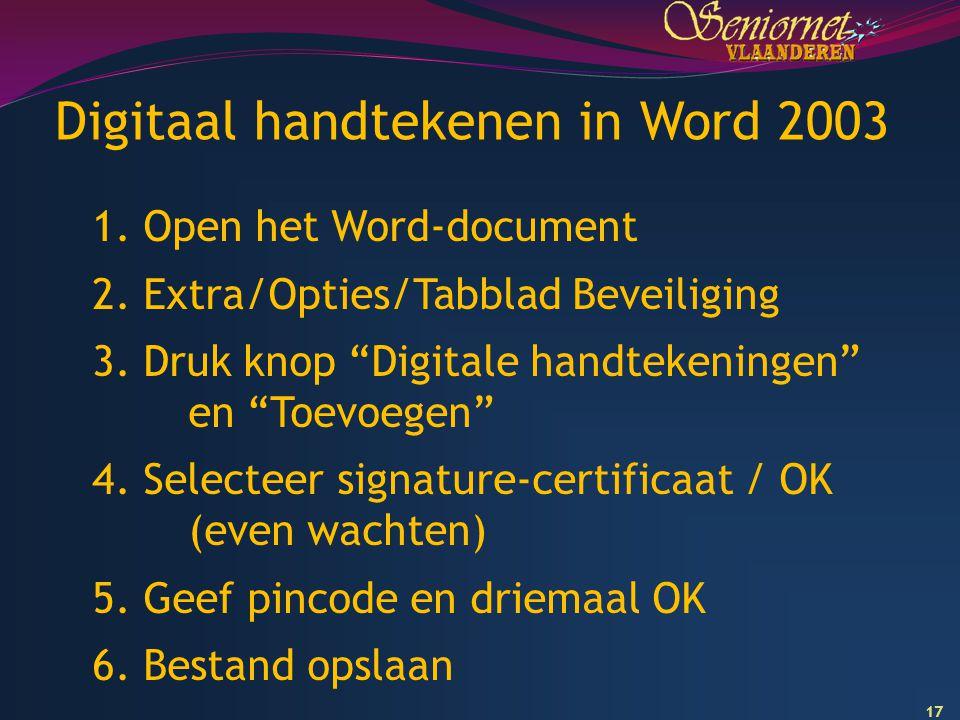 Digitaal handtekenen in Word 2003