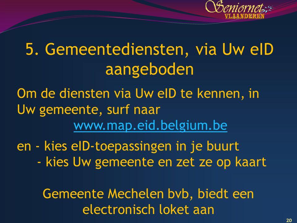 5. Gemeentediensten, via Uw eID aangeboden
