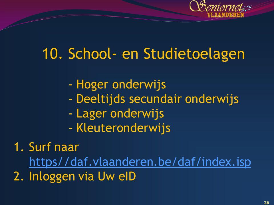 10. School- en Studietoelagen