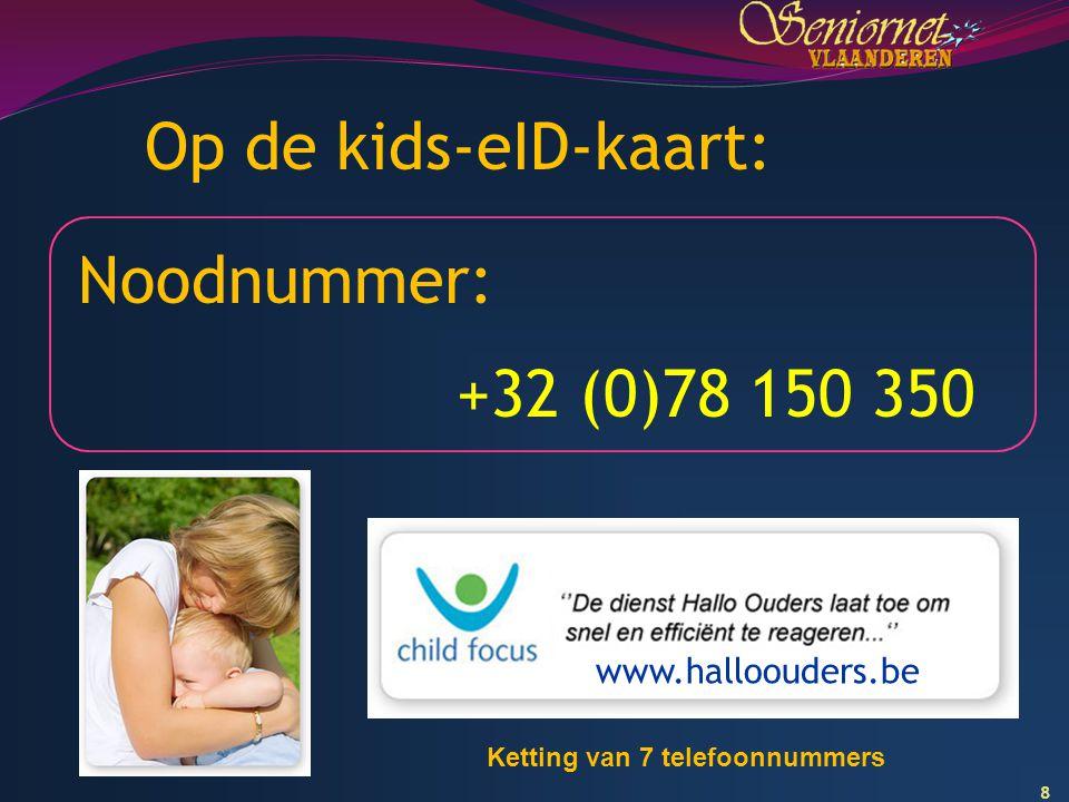 Op de kids-eID-kaart: Noodnummer: +32 (0)78 150 350 www.halloouders.be