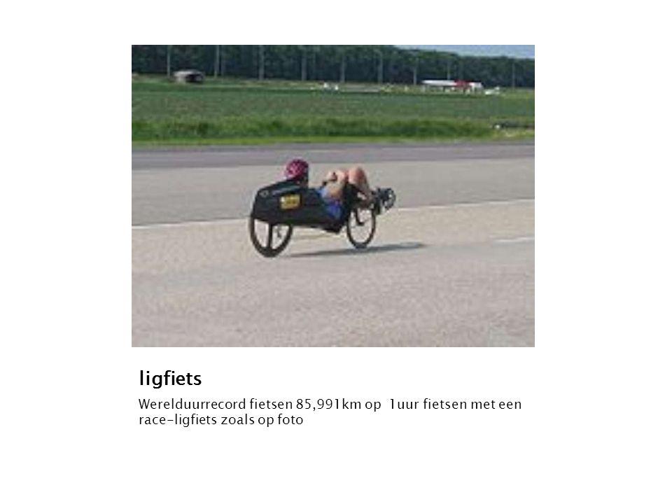ligfiets Werelduurrecord fietsen 85,991km op 1uur fietsen met een race-ligfiets zoals op foto