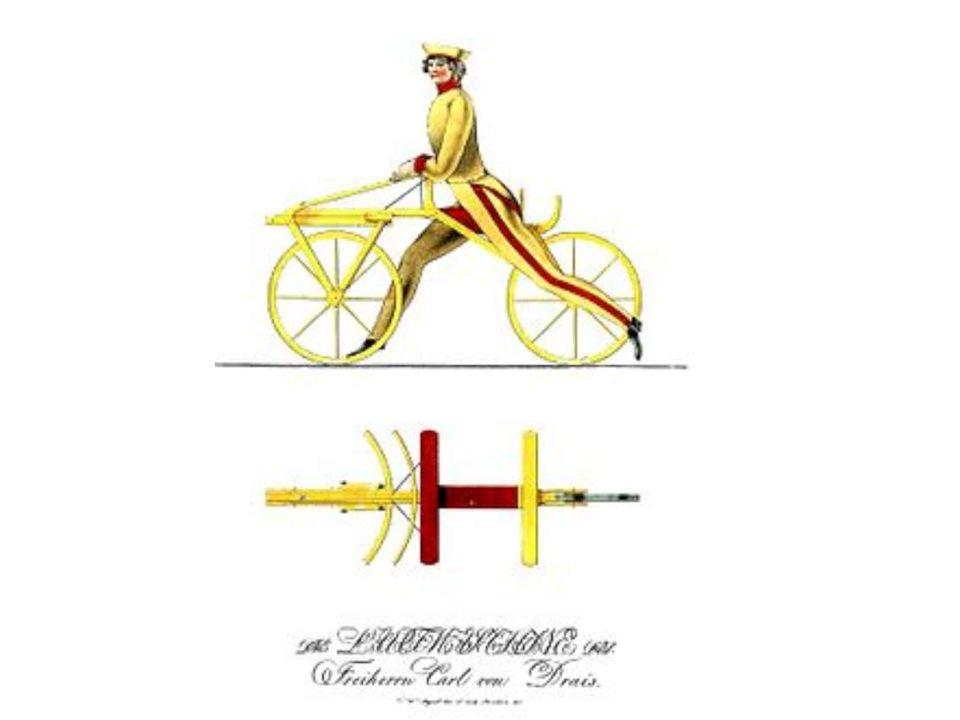 1817 :verbeterde versie van de loopfiets maar nu MET stuur,DRAISINE genoemd