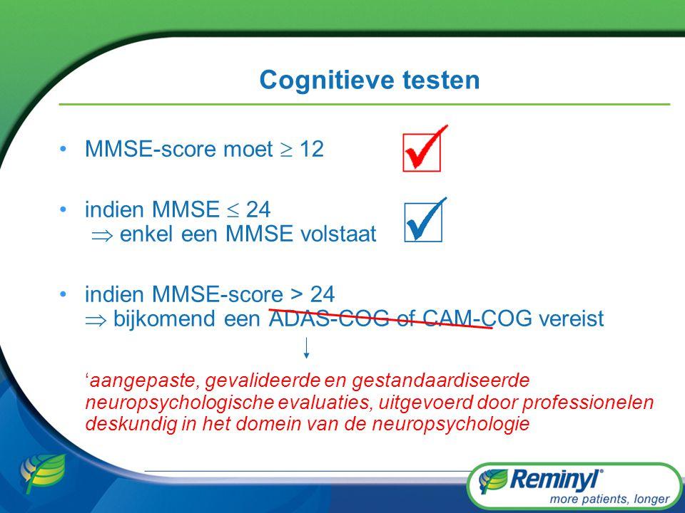Cognitieve testen MMSE-score moet  12