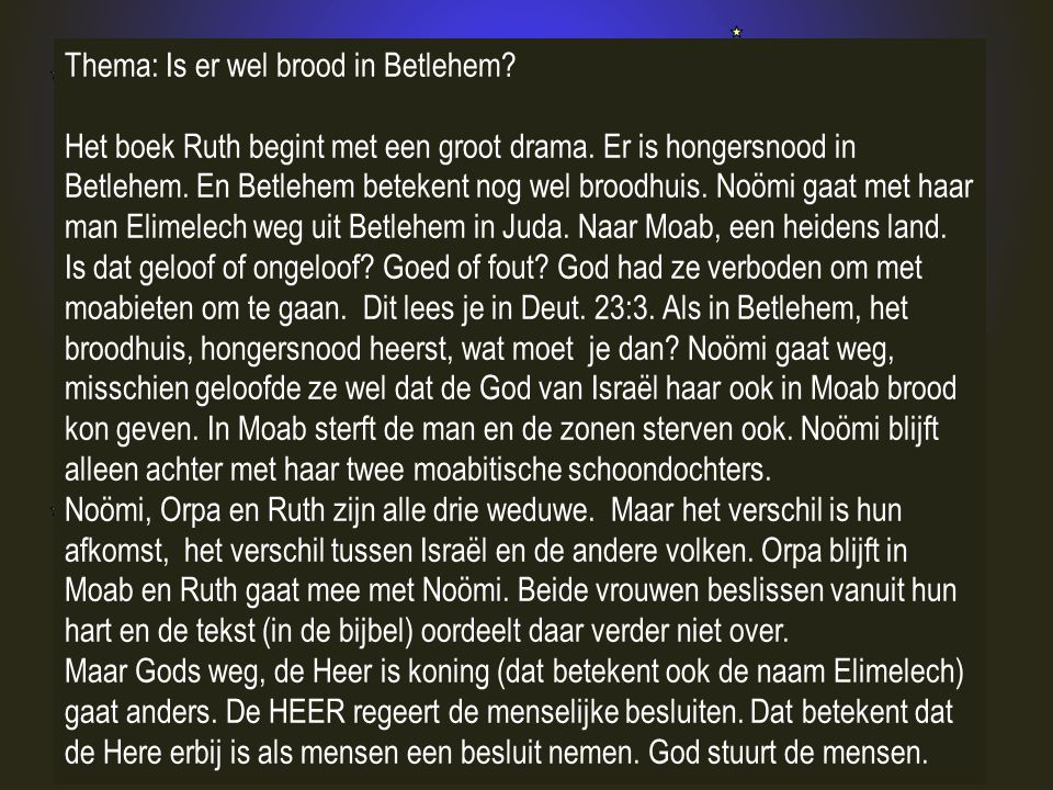 Thema: Is er wel brood in Betlehem