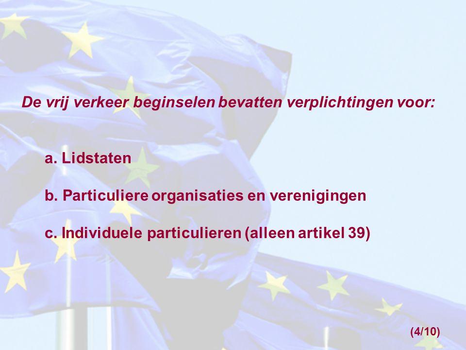 De vrij verkeer beginselen bevatten verplichtingen voor: