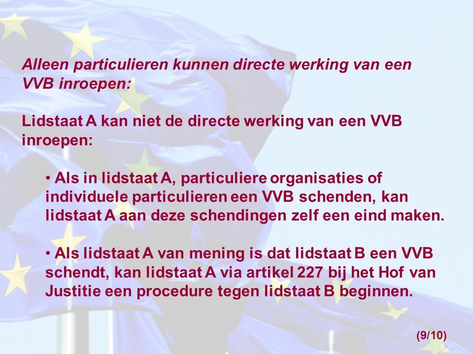 Alleen particulieren kunnen directe werking van een VVB inroepen: