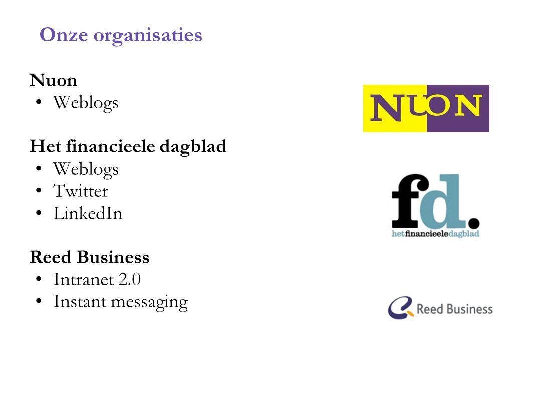 Onze organisaties Nuon Weblogs Het financieele dagblad Twitter