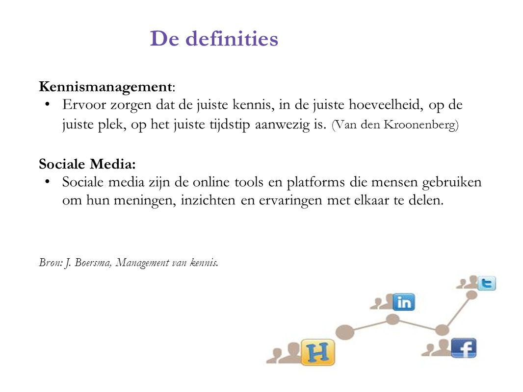 De definities Kennismanagement: