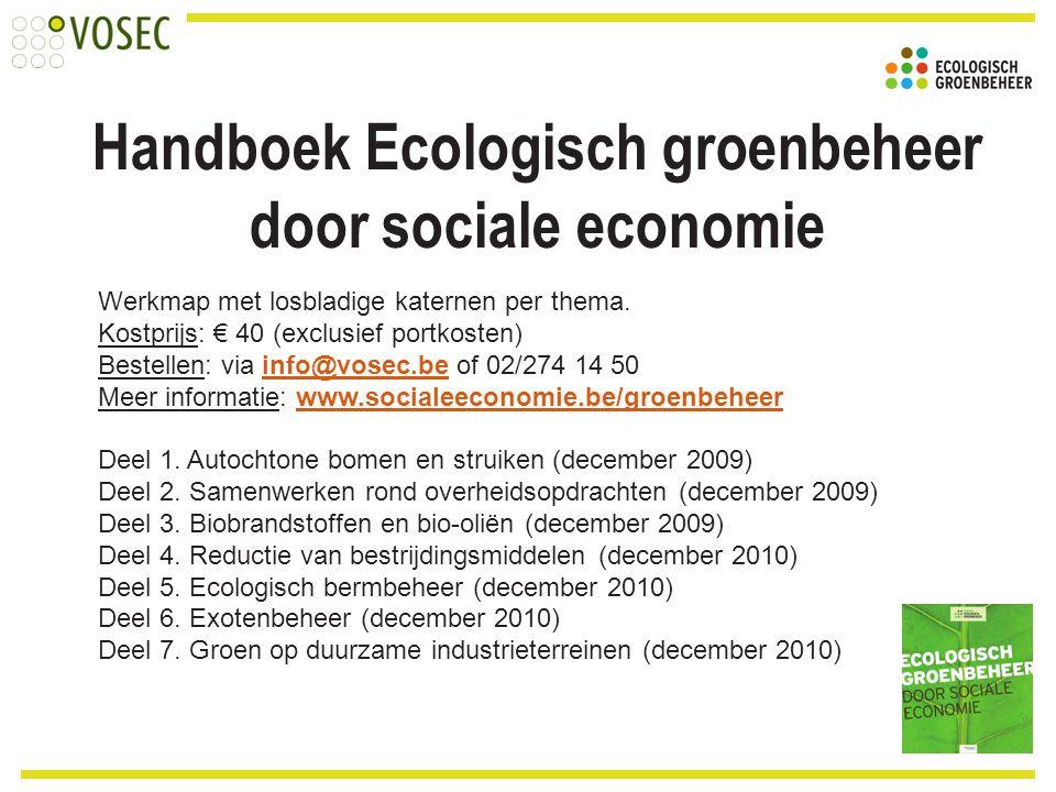 Handboek Ecologisch groenbeheer door sociale economie