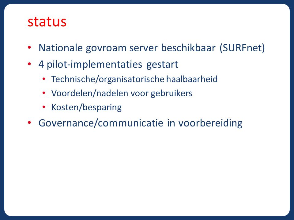 status Nationale govroam server beschikbaar (SURFnet)